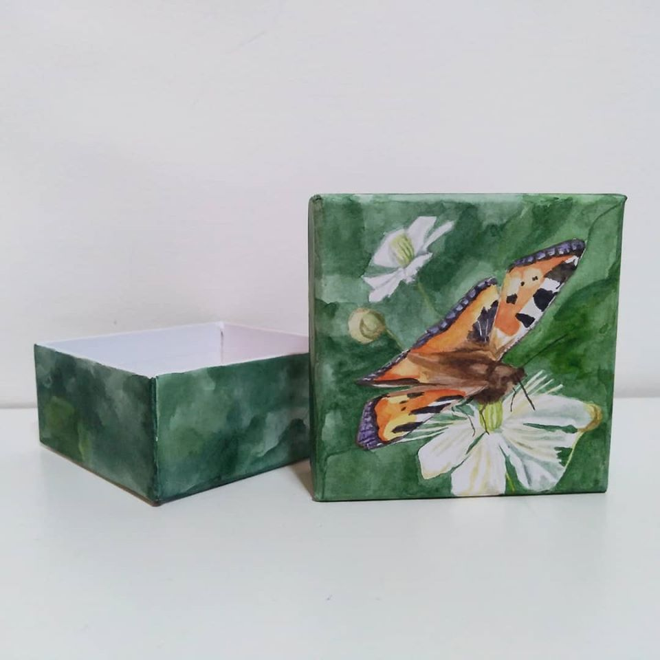 box painted with butterfly